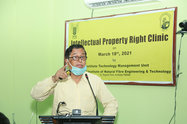 Dr. S. Mitra,  Ex. Deputy Controller of Patent & Design delivering his lecture