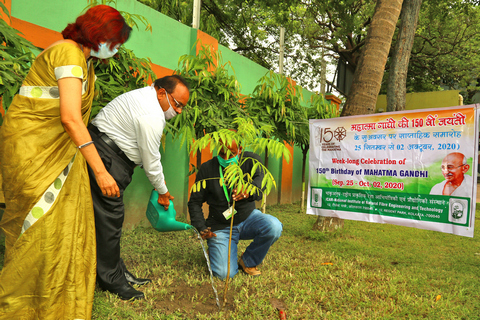 Tree plantation by the Director